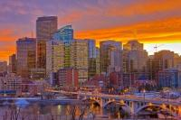 Calgary City Skyline Sunset Picture
