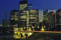Centre Street Bridge leading into downtown Calgary at night in Alberta, Canada.