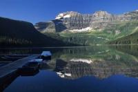 A peaceful morning on Cameron Lake in the Waterton Lakes National Park of Alberta, Canada.