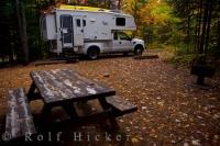 Fall is a delightful time for camping in Quebec, Canada where forests are cloaked in rich, golden colors. At the heart of the Laurentians Mountain chain is La Mauricie National Park, a destination for all seasons but at its most colorful during autumn.