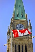 Canadian Flag Parliament Peace Tower Ottawa