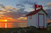 Canadian Flag Outhouse Scenic View Sunset
