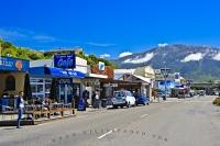 Cafes and shops line the main street in the small village in Canterbury on the East Coast of the South Island of New Zealand.