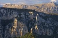 The rock cliffs in the Verdon Canyon in the Provence, France have a pink tinge to them at sunset.