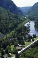 The Agawa Canyon situated in Ontario, Canada is a popular destination to travel to by train on the historic Algoma Central Railway.