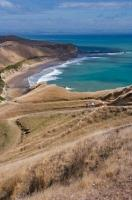 Tourists get a beautiful scenic view of the Cape Kidnappers coastline off the North Island of New Zealand hiking down from the Australasian Gannet Colony.