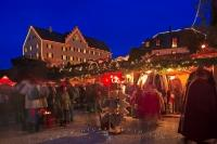 A Christmas season highlight in Bavaria is the Christmas market at the medieval castle of Hexenagger, Bavaria, Germany.