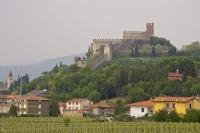 Castle atop Monte Tenda above the town of Soave in the province of Verona, Italy in Europe.
