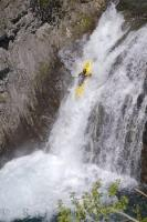 Kayaking down the fast moving Sauth deth Pish waterfall in the Val d'Aran in Catalonia, Spain in Europe is a water sport loved by the Spanish people.