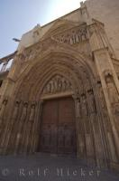 The Gothic entrance to the Cathedral in Valencia, Spain in Europe.