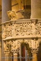 The beautifully carved architecture of the pulpit in the Cathedral of Pisa, Italy was designed by Giovanni Pisano at the beginning of the 14th century.