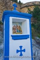 The ceramic tile picture representing the crucifixion at the entrance to the Castle of Guadalest in the town of Guadalest in Comunidad Valenciana, Spain.