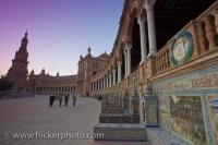 Around the Plaza de Espana and Parque Maria Luisa in the City of Sevilla in Andalusia, Spain, an attraction for every tourist, is the alcoves of ceramics.