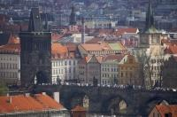 From the Prague Castle in the Czech Republic, you get an excellent view of the historic Charles Bridge.