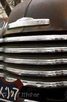 The badge and grill from a Chevy are like a symbol of the 1950s along Route 66 in Arizona.