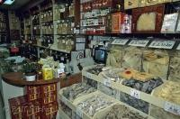 The tightly packed shelves of a chinese store at the Chinatown Markets in Toronto, Canada.