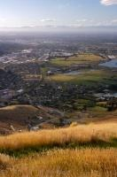 Driving along the Summit Road on the Port Hills in Canterbury, New Zealand you get a beautiful aerial shot of Christchurch City.