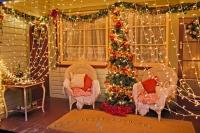 Christmas lights are a festive decorative tradition. Their dazzling twinkles create an inviting holiday scene, framing the porch and brightening the tree of this house in Pukeuri, Otago, New Zealand.