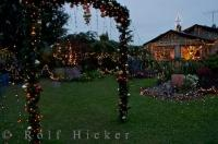 The lights on display in the yard of this privately owned house in Pukeuri on the South Island of New Zealand is elegant enough for a King and Queen.