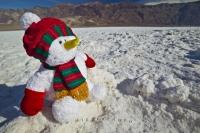 A unique picture of a christmas snowman soaking up the deserts sun in Death Valley, California, USA.