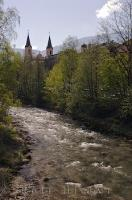 Church Spires Riverbanks Bruneck Town Italy