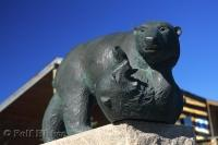 A statue commemorates the Polar Bear in Churchill, Manitoba, Canada.