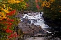 Fall colored leaves surround the Riviere du Diable and Chutes Croches, a waterfall and river in the Parc national du Mont Tremblant in the beautiful province of Quebec, Canada.