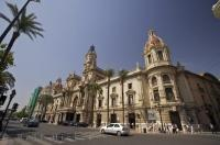 A city of elaborate buildings, no expense was spared for the City Hall in downtown Valencia, Spain.