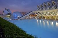 A mystical atmosphere falls over La Ciutat de les Arts i les Ciencies a modern complex in the City of Valencia, Spain.