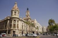 The classic town hall in the city of Valencia in Spain, Europe is just one of the many interesting buildings throughout the entire city.