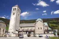 The 12th century Collegiate Church of San Candido in the South Tyrol region of Italy, Europe.