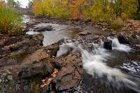 Colorful Autumn Waterfall Ontario River