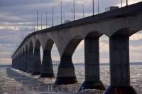 Many vehicles cross the Confederation Bridge which spans the Northumberland Strait for nine miles in Prince Edward Island, Canada.