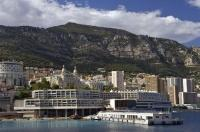The Congress Center sits along the sea front of the Mediterranean in Monte Carlo, Monaco in France, Europe.