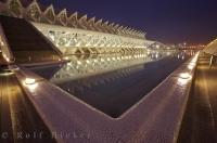 The stunning buildings of La Ciutat de les Arts i les Ciencies are a stunning display of contemporary architecture in the city of Valencia, Spain.