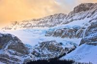 The Crowfoot Glacier is huge and awe-inspiring in Banff National Park, Alberta, and it can be seen here from a vantage point along the Icefields Parkway. Banff National Park forms part of the Canadian Rocky Mountain Parks UNESCO World Heritage Site.