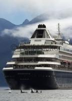 The cruise ship Prinsendam whale watching in Johnstone Strait, British Columbia, Canada.