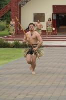 Photo showing a warrior challenge during one of the maori cultural tours available in Rotorua in the North Island of New Zealand.
