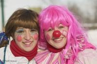 Cute Girls in Clown Dress at the annual Quebec Winter Carnival