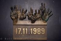 A hands plaque dated 17 November 1989, the beginning of the Velvet Revolution in the Czech Republic which was then Czechoslovakia.