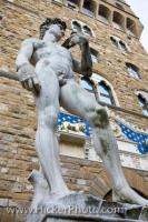 The Famous Statue of David seen in front of the Palazzo Vecchio in the Piazza della Signoria, Florence in Tuscany, Italy is a excellent copy of the original.