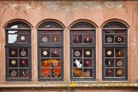 Beautifully decorated windows at a Christmas Market at the Medieval Castle Ronneburg in Hesse, Germany.