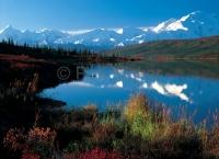 Denali National Park with Wonder Lake in Autumn, a famous Alaska vacation destination