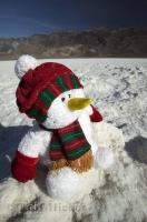 A Christmas snowman surviving the desert sun in Death Valley National Park, California, USA.