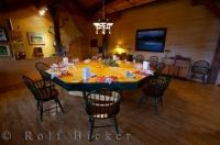 A beautifully set dining table is ready for the guests who stay at the Rifflin'Hitch Lodge in Southern Labrador, Canada.