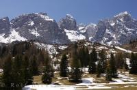 The snow begins to melt and slowly disappear in the Dolomites Mountain Range in South Tyrol, Italy in Europe.