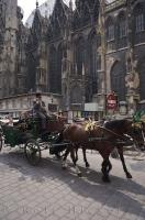 Tourists enjoy their horse buggy rides in the downtown area of Vienna, Austria with this one passing by the Stephansdom Cathedral.