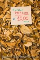 Dried Porcini mushrooms for sale at the Mercato Centrale or Central Markets, located in the City of Florence in the region of Tuscany, Italy.