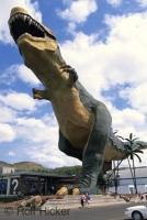 The world's largest model dinosaur, a Tyrannosaurus Rex located in the town of Drumheller, Alberta, Canada.