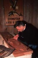 A native carver at the Quw'utsun' Cultural Centre in Duncan on Vancouver Island in british Columbia, Canada.